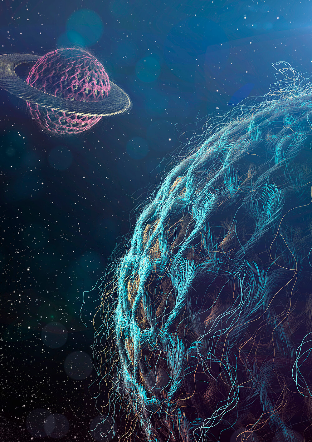 This is a picture of the illustration Knitting Planets shot from 3D Artist Magazine number 84