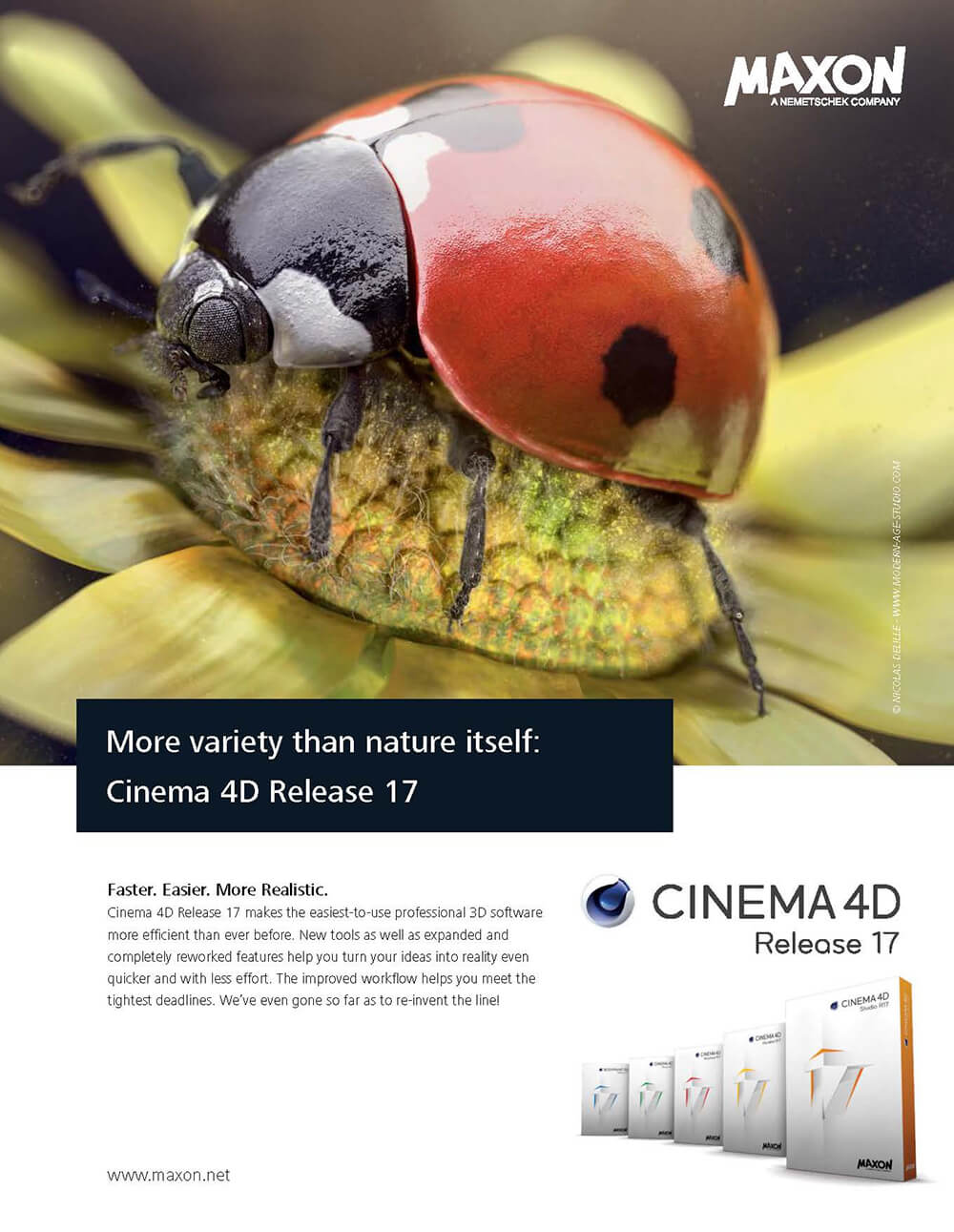 Maxon ad with the illustration Ladybug Journey
