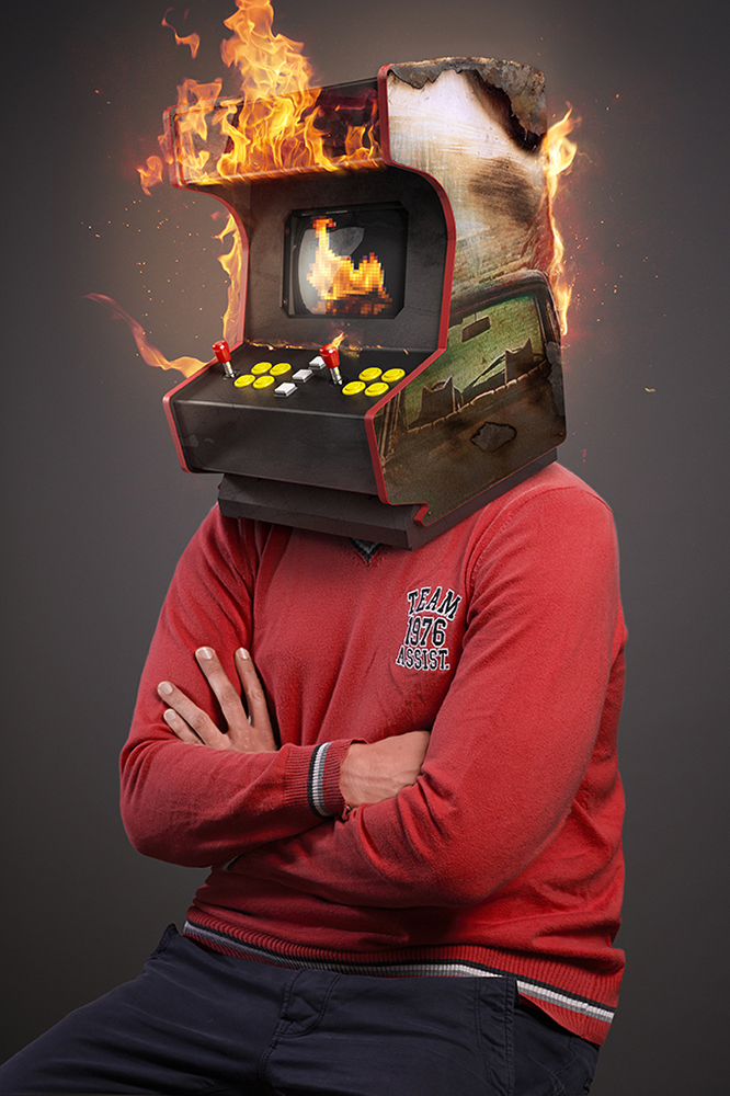 This is the fifth portrait of the rock heads serie showing a photomanipulation of the band Arcade Fire - The guy has a burning video arcade instead of his head