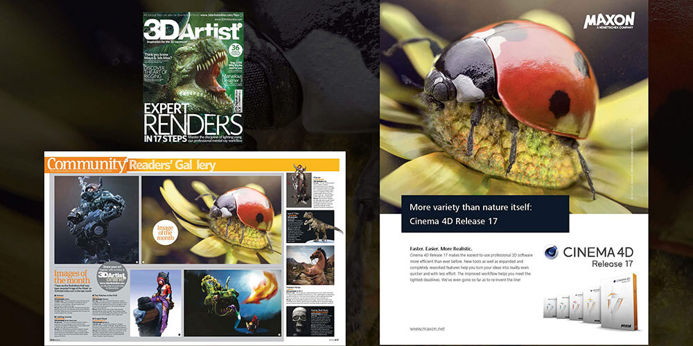 3D artist magazine with the illustration Ladybug Journey
